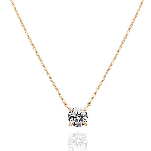 Plated Swarovski Necklace Gold - PAVOI 14K Gold Plated Swarovski Crystal Solitaire 1.5 Carat (7.3mm) CZ Dainty Choker Necklace | Rose Gold Necklaces for Women