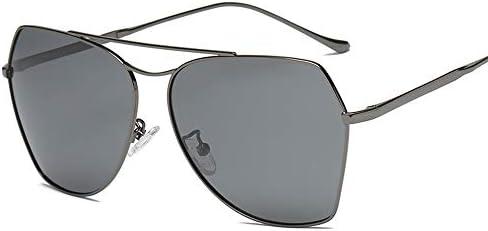 CDKET メンズイレギュラーサングラス、ダブルビーム、フルフレーム、偏光、UVカット CDKET (Style : Black frame black gray piece)