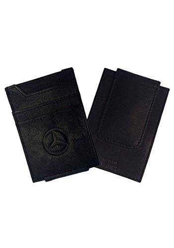 Mercedes Benz Men's Black Genuine Leather Wallet and Money Clip