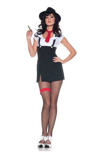 Women's Sexy Mob Wife Costume - Molly, Black/White/Red, Large