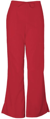 Cherokee Workwear Scrubs 4101 Low Rise Flare Leg Scrub Pant (Red, XX-Small) by Cherokee