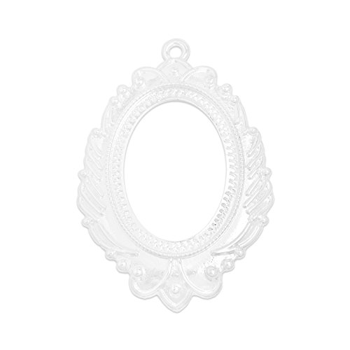 - MAXENVISION 30x40mm Oval Open Back Bezel Pendant Tray Cameo Cabochon Pendant Frame Setting Pack of 10 (Shiny Silver)