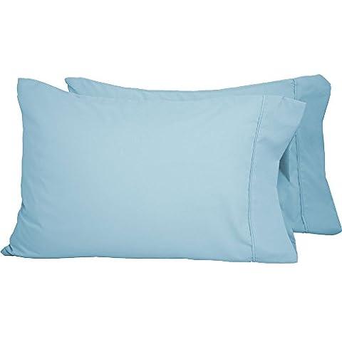 Premium 1800 Ultra-Soft Microfiber Pillowcase Set - Double Brushed - Hypoallergenic - Wrinkle Resistant (Standard Pillowcase Set of 2, Light - Blue Plush Mattress Set