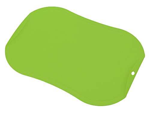 gabo TPU Antimicrobial Cutting Board with Handle, Scratch Resistant, Flexible, Knife friendly, Non-Slip, Juice Groove, Dishwasher Safe (Green)