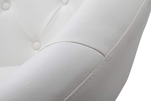 Fauteuil de Salon Blanc Fauteuil Club Similicuir Fauteuil Cabriolet pivotant Chaise de Salle à Manger réglable en Hauteur Duhome 0332