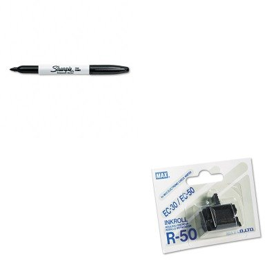 Ink Roller Replacement R50 - KITMXBR50SAN30001 - Value Kit - Max USA Corp R50 Replacement Ink Roller (MXBR50) and Sharpie Permanent Marker (SAN30001)