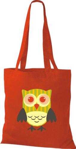 Stoffbeutel Bunte Eule niedliche Tragetasche mit Punkte Karos streifen Owl Retro diverse Farbe rot