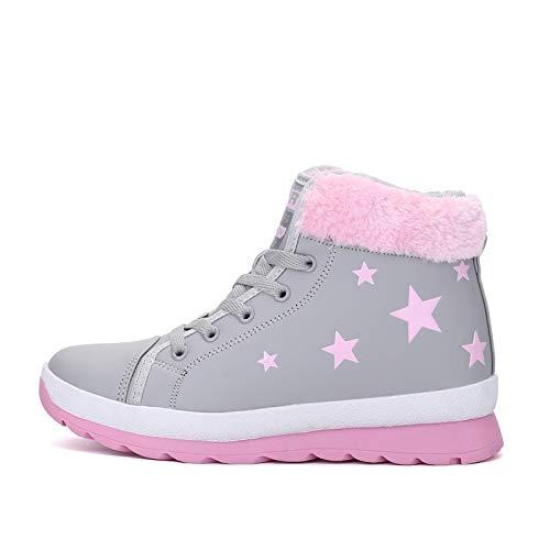 HOESCZS Femmes Chaussures Bottes Enfants Hiver Courte Nouvelles Dames Courte Hiver Tube Bottes De Neige Bottes Fond Plat des Chaussures De Coton Martin Bottes Bottes des Femmes 38|Gray cdcef4