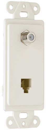 Pass & Seymour 26TELTVLACC10, Combination f type coaxial connector and four conductor RJ11 telephone jack, Light Almond. by Pass & - 1 Single Gang Decorator Jack