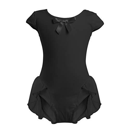 OBEEII Children Girl Ballet Dress Ruffle Skirted Leotard Ballerina Gymnastic Active Costume Waltz Ballroom Holiday Photo Prop Auditions Baby Recital Black 2-3 Years]()