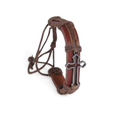 (RTB008) Unique Asian Vintage Art Handmade Fashion Style Cross Design Brown Leather Cord Zen Bracelet Wristband for Men, Women, Boys, Girls, Unisex