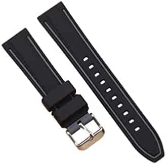 NICERIO Compatible for Samsung S3 Strap Silicone Watch Band Replacement Wristband Smart Watch Strap Replacement Compatible for Samsung S3 (20mm Black and Grey)