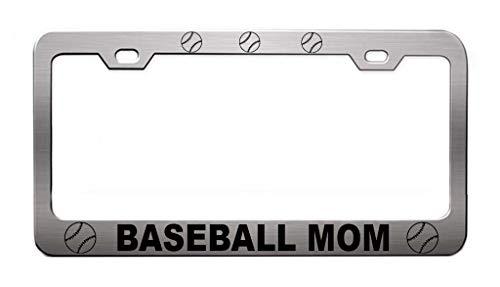 BASEBALL MOM Sport Bat Chrome License Plate Frame Tag Holder, Heavy Duty Metal (License Holder Sports Mom Plate)