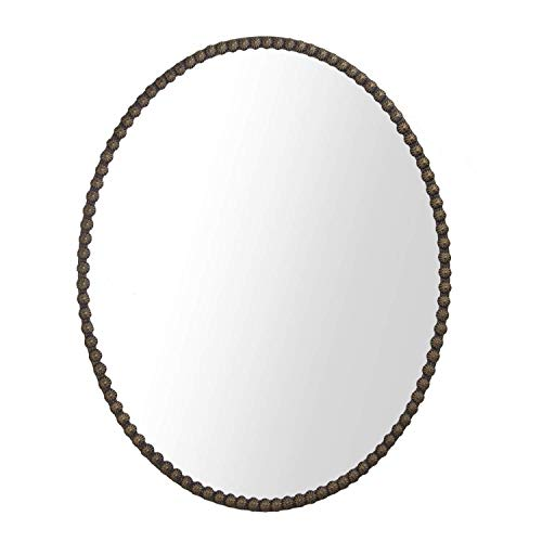 Wooden Oval Mirrors - Hans & Alice Large Rectangular Bathroom Mirror, Wall-Mounted Wooden Frame Vanity Mirror (32
