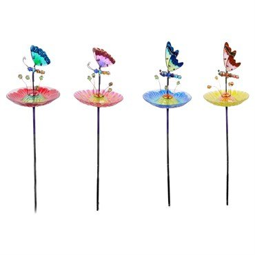 Alpine KPP496A Insect Flower Bird Bath Garden Stakes - Assorted Display of 8