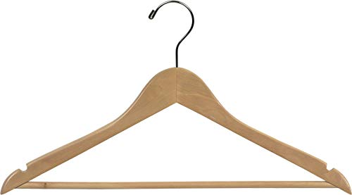 The Great American Hanger Company Wood Suit Hanger w/Solid Wood Bar, Box of 100 Space Saving 17 Inch Flat Wooden Hangers w/Natural Finish & Chrome Swivel Hook & Notches for Shirt Dress or Pants