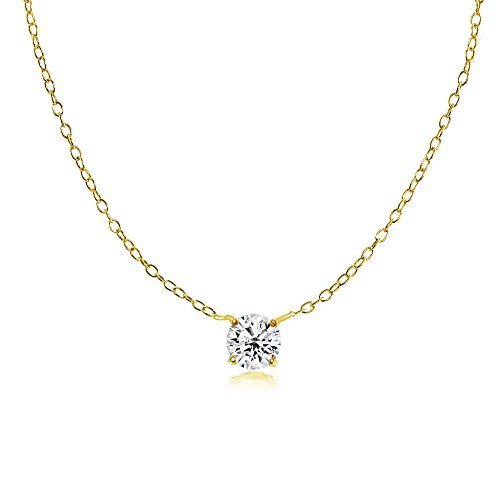 Yellow Gold Flashed Sterling Silver Small Round Genuine, Simulated Gemstone or CZ Choker Necklace (Small Genuine Round Solitaire)