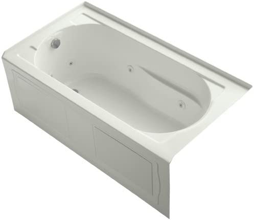 KOHLER K-1357-LA-NY Devonshire 60-Inch x 32-Inch Alcove Whirlpool with Integral Apron, Tile Flange and Left-Hand Drain, Dune