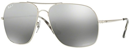 Ray-Ban Men's 0rb3587ch003/5j61metal Man Polarized Iridium Square Sunglasses, Shiny Silver, 61 - Ray Reflective Bans