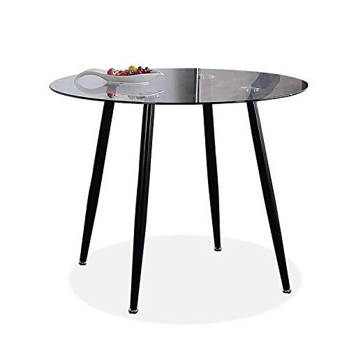Adec - Suecia, Mesa de Comedor Redonda, Mesa de salon acabada en Cristal y Patas Negras, Medidas: 75 cm (Alto) x 100 cm (diametro)