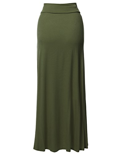 7388436e50 Stylish Fold Over Flare Long Maxi Skirt - Made in USA Olive M ...