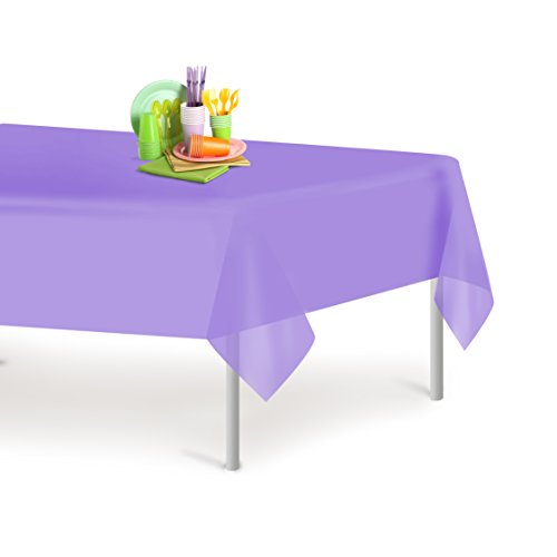 Lavender 6 Pack Premium Disposable Plastic Tablecloth 54 Inch. x 108 Inch. Rectangle Table Cover By Dluxware