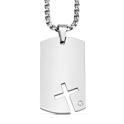 abooxiu Mens Womens Military Dog Tag Pendant Necklace with Cubic Zirconia Stone Stainless Steel Necklace ()