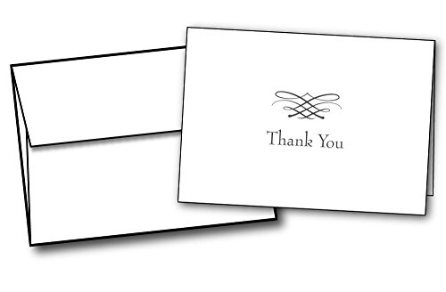 Simple Elegant Thank You Cards - 48 Cards & Envelopes