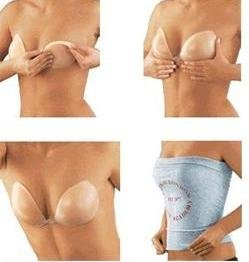 STRAPLESS SILICONE GEL BRA BLACK OR NATURAL SIZE A, B, C, D ...