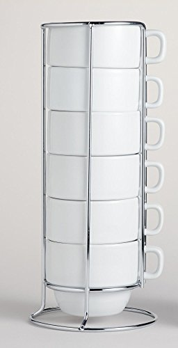 White Stacking Ceramic Coffee Mugs Set and Chrome Rack