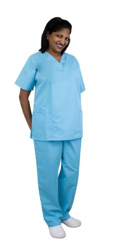 Women's Cherokee Workwear Uniform Scrub Set (Surgical Green, (Poly Set Green)