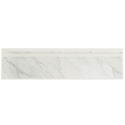 SomerTile WOSBTMWM Quadra Satin Marble Ceramic Base Trim Molding, 3.25'' x 12.375'', white/grey by SOMERTILE