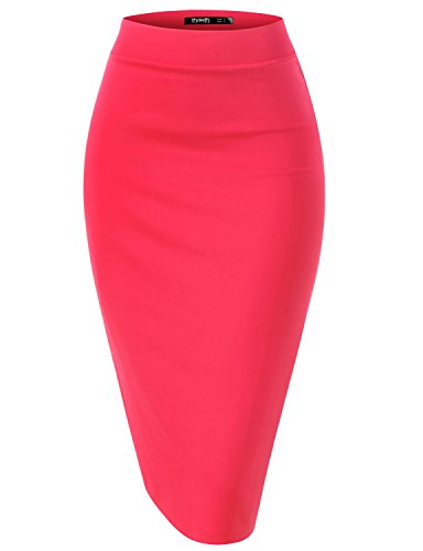 TWINTH Womens High Waist Stretch Bodycon Classic Pencil Skirt HOTPINK S