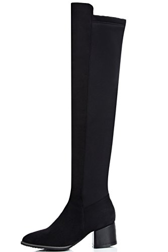 by Black Suede On Knee Long Faux Boots Toe Women Slip BigTree Elegant Black Boots Block Pointed Comfortable ZcPafwWSq
