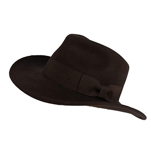 e0017cbf392 Epoch Hats Company Men s Wool Felt Outback Hat with Grosgrain Band Brown.  Tap to expand
