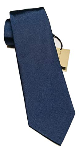 - New Authentic Burberry London Manston Navy Solid Silk Tie
