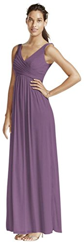 David's Bridal Long Mesh Bridesmaid Dress with Cowl Back Detail Style F15933, Wisteria, 8 -