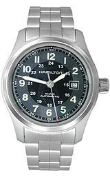 Hamilton Men's Khaki Field 38mm Steel Bracelet & Case Automatic Black Dial Analog Watch H70455133