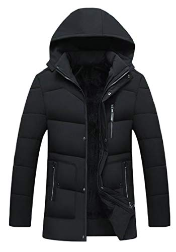 TTYLLMAO Men's Hooded Thickened Down Coat Casual Padded Quilted Jacket Outerwear Black