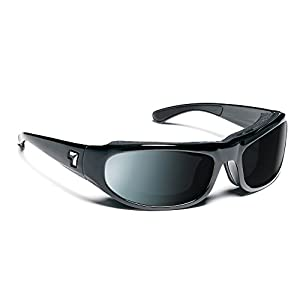 7eye Whirlwind SharpView Sunglasses, Black Glossy Frame, Polarized Gray Lens, Small/Large