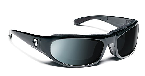 7eye Whirlwind SharpView Sunglasses, Black Glossy Frame, Polarized Gray Lens, - Sunglasses Air