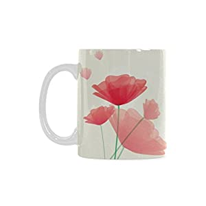 Poppy Flower Personalized Funny Healthy Ceramic Classical White Mug, Coffee,Water,Tea Cup for Women/Men