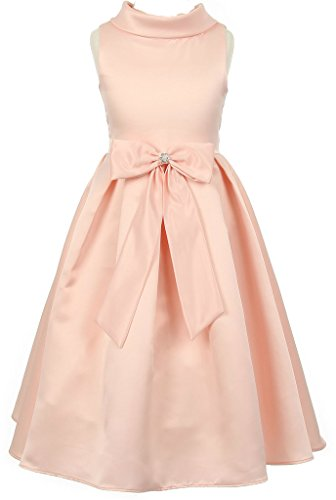 AkiDress Satin Cowl Neckline with Large Bow Flower Girl Dress for Little Girl Peach 12 (Tea Length Ribbon)
