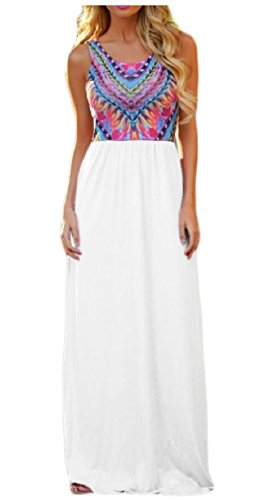 Jaycargogo Été Débardeur Imprimé Floral Manches Boho Femmes Robes Maxi Longue Blanc