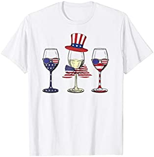 Red White Blue Wine Glasses American Flag 4th Of July shirt T-shirt | Size S - 5XL