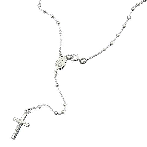 Sterling Silver Rosary Necklace 2mm DC Bead Cross Rosary Chain (18, 20 Inches), 18