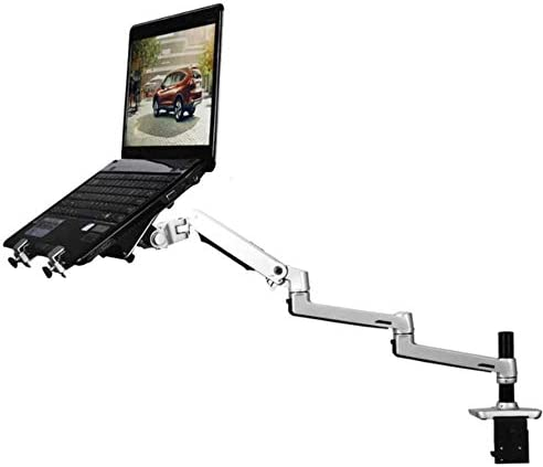 TTZY Aluminum Desktop Mount 2 in 1 Dual-Use Laptop Support Monitor Holder Mount Ultra Long Arm Full Motion Notebook Bracket,Silver,Israel