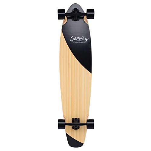 Sanview Bamboo Longboard Skateboards Cruiser (Black Fishtail) (Board Skate Bamboo)