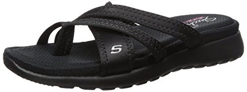 Skechers Cali Women's Breeze Low-Bright Star Flat Sandal,Black/Black,10 M US (Star Low Shoes)