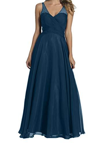Lang V Brautjungfernkleider Ausschnitt Promkleider Dunkel Blau Braut Chiffon Abendkleider La Burgundy Marie wtTqx00z